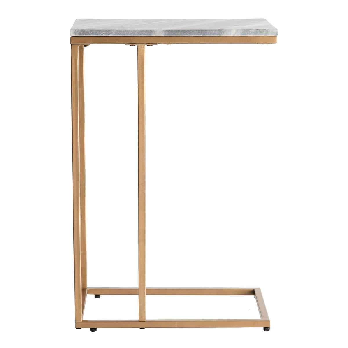 Side view of the Kandla Grey Marble Side Table with Gold Base