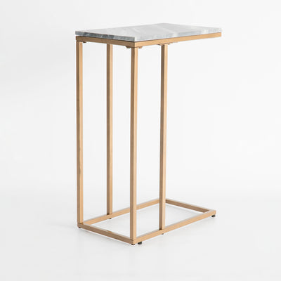 end view of the Kandla Grey Marble Side Table with Gold Base