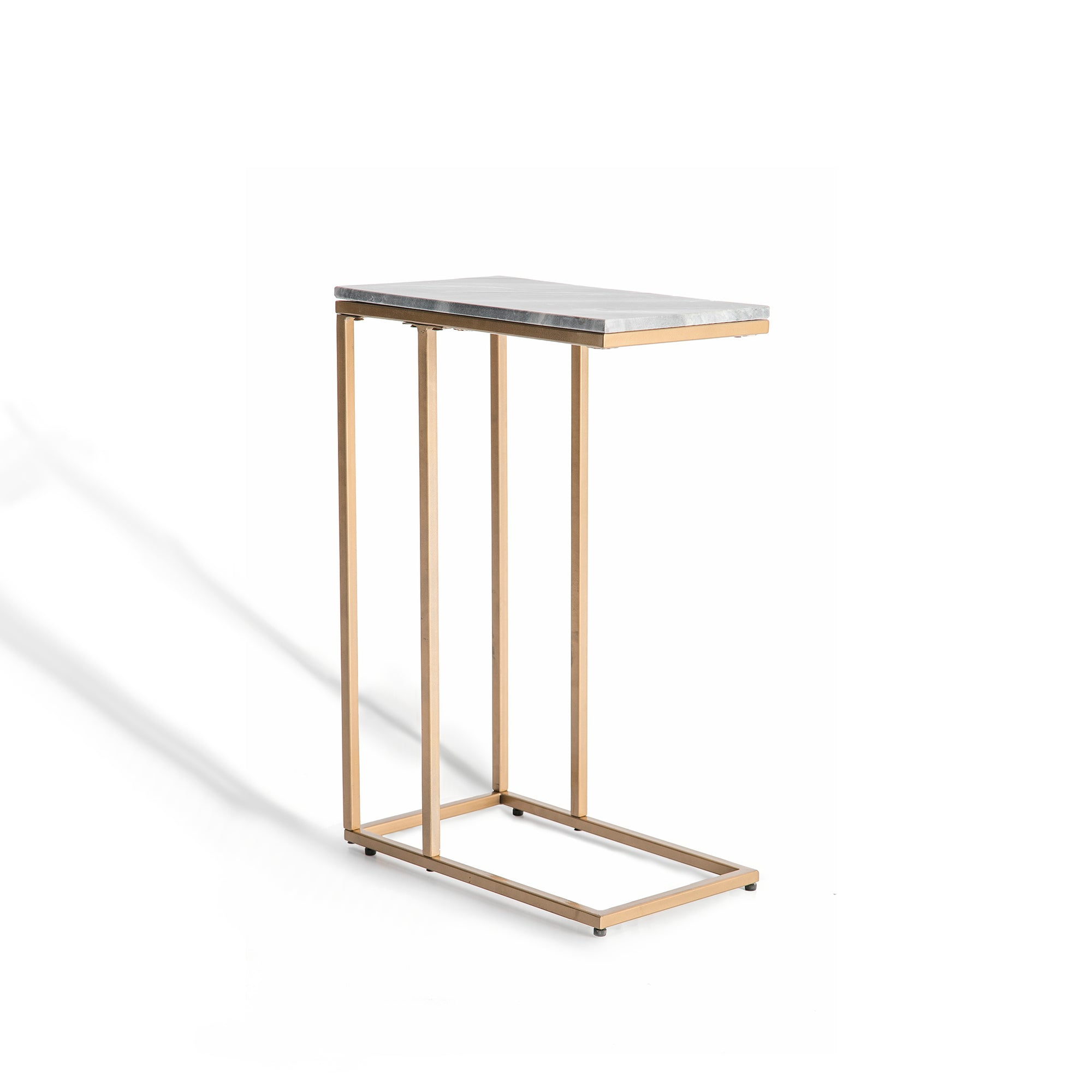 Kandla Grey Marble Side Table with Gold Base by Roseland Furniture