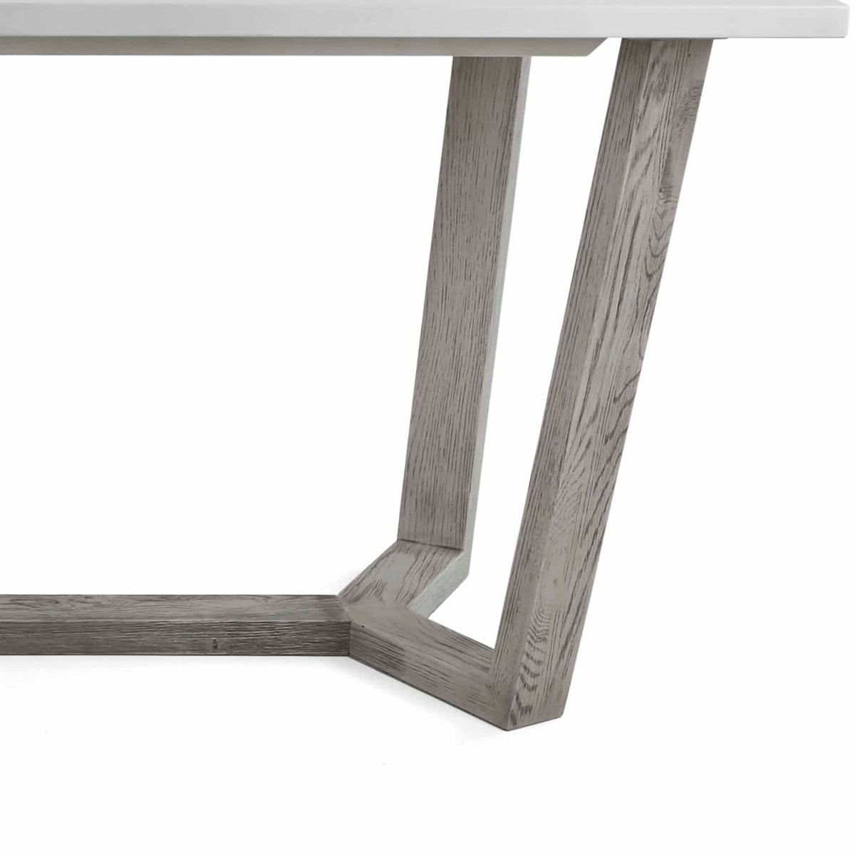 close up of the grey washed solid wood legs on the Epsom 150cm Rectangular Dining Table