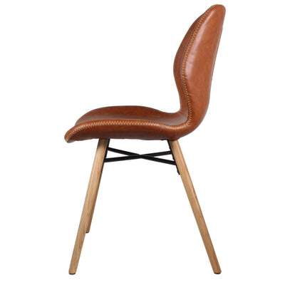 Denver Dining Chair with Oak Legs, Copper Brown - Set of 2 Chairs