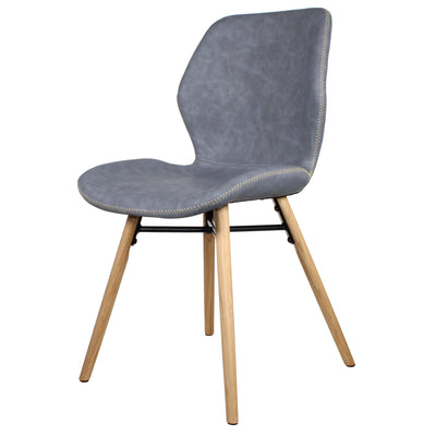 Denver Dining Chair with Oak Legs, Slate Grey - Set of 2 Chairs