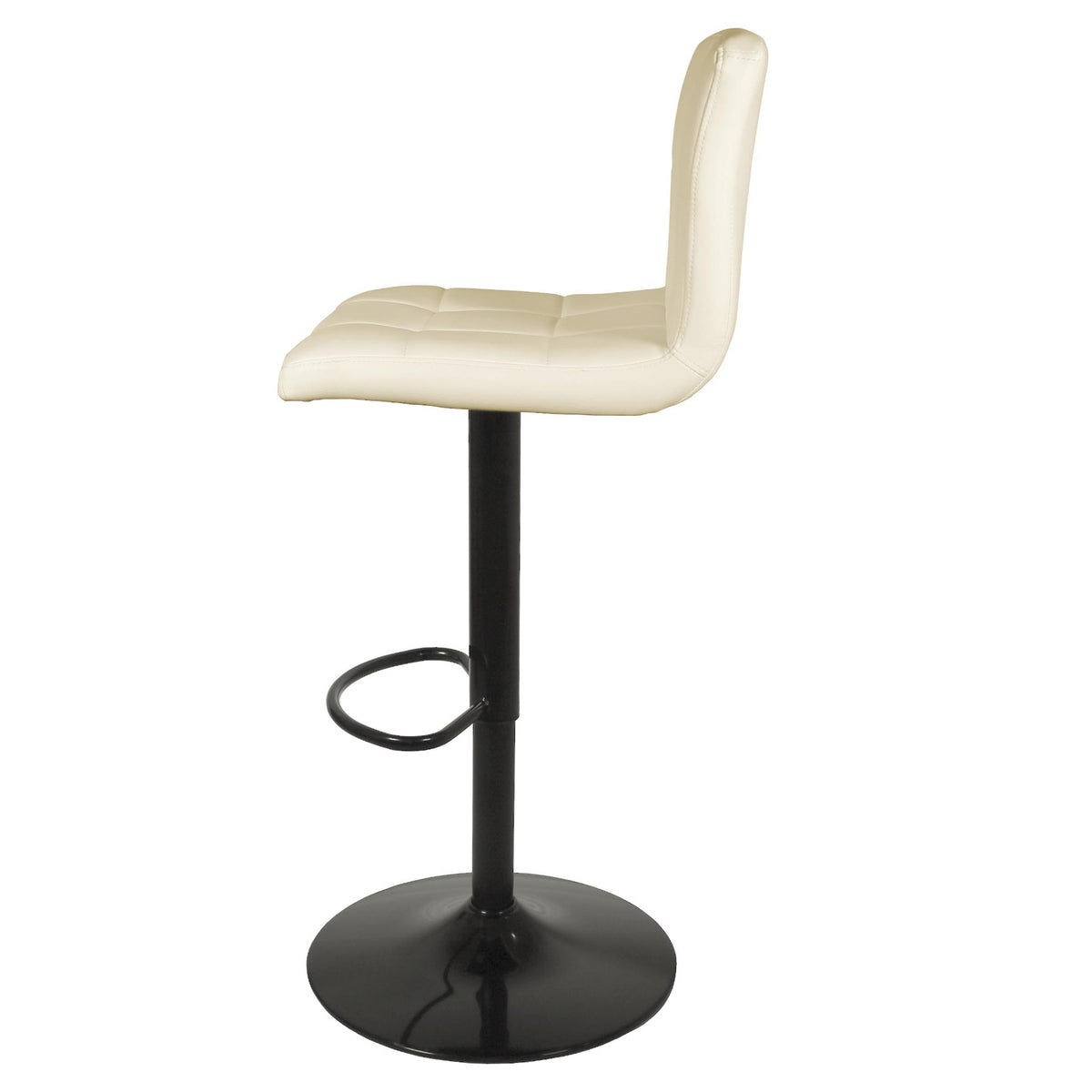 Side view of the Vanilla Cream Elton Adjustable Breakfast Bar Stool from Roseland Furniture