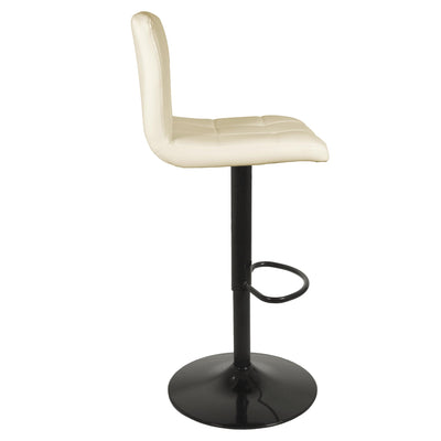 Side view of the Vanilla Cream Elton Adjustable Breakfast Bar Stool with steel base