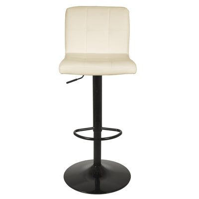Front view of the Vanilla Cream Elton Adjustable Breakfast Bar Stool from Roseland Furniture