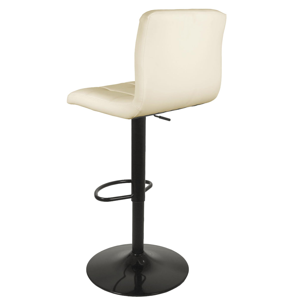 Back view of the Vanilla Cream Elton Adjustable Breakfast Bar Stool from Roseland Furniture