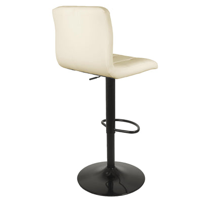 Back view of the Vanilla Cream Elton Adjustable Breakfast Bar Stool with powder coated steel pedestal
