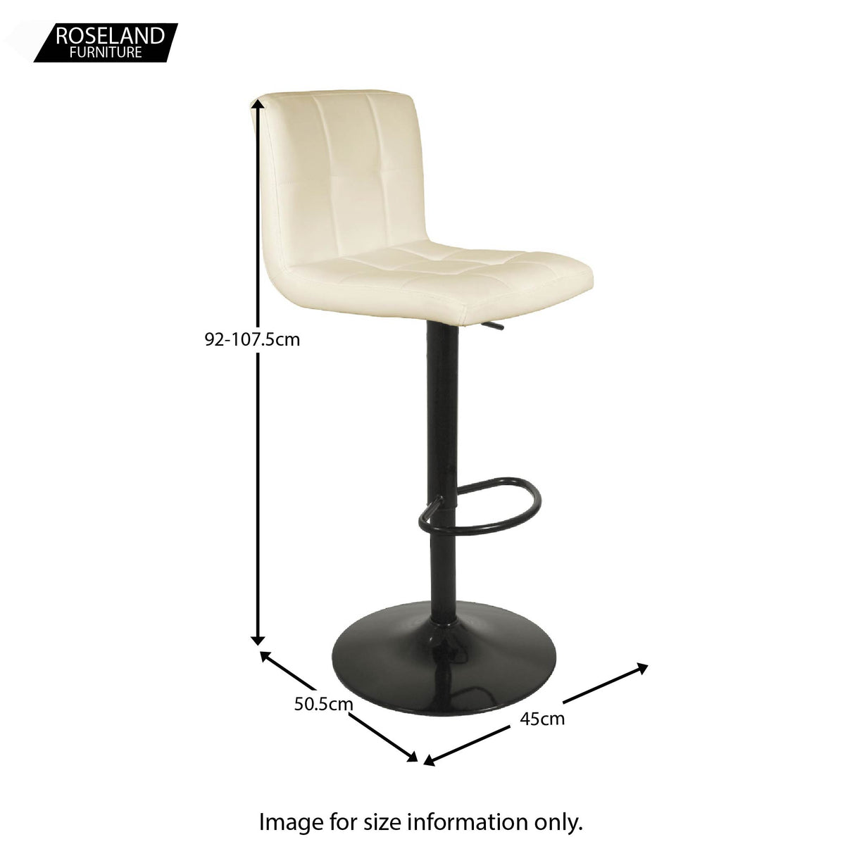 Dimensions for the Vanilla Cream Elton Adjustable Breakfast Bar Stool from Roseland Furniture