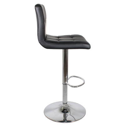 side view of the Shadow Grey Elton Adjustable Breakfast Bar Stool with silver base