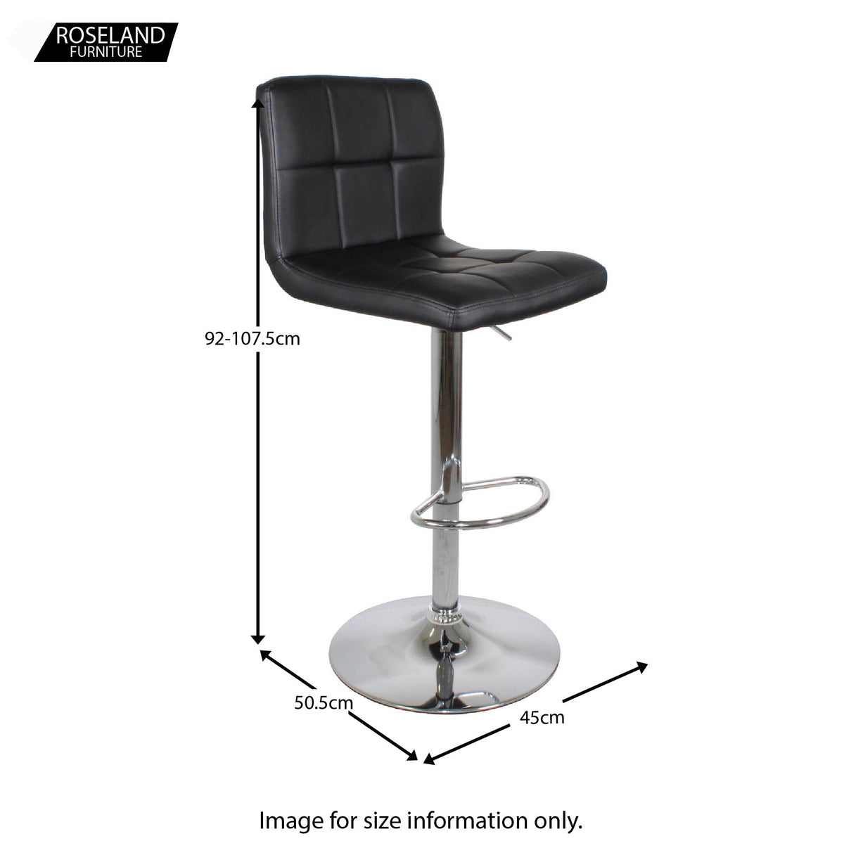 Dimensions for the Shadow Grey Elton Adjustable Breakfast Bar Stool from Roseland Furniture