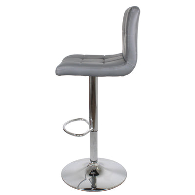 Side view of the Sky Grey Elton Adjustable Breakfast Bar Stool from Roseland Furniture