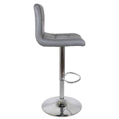Side view of the Sky Grey Elton Adjustable Breakfast Bar Stool with footrest