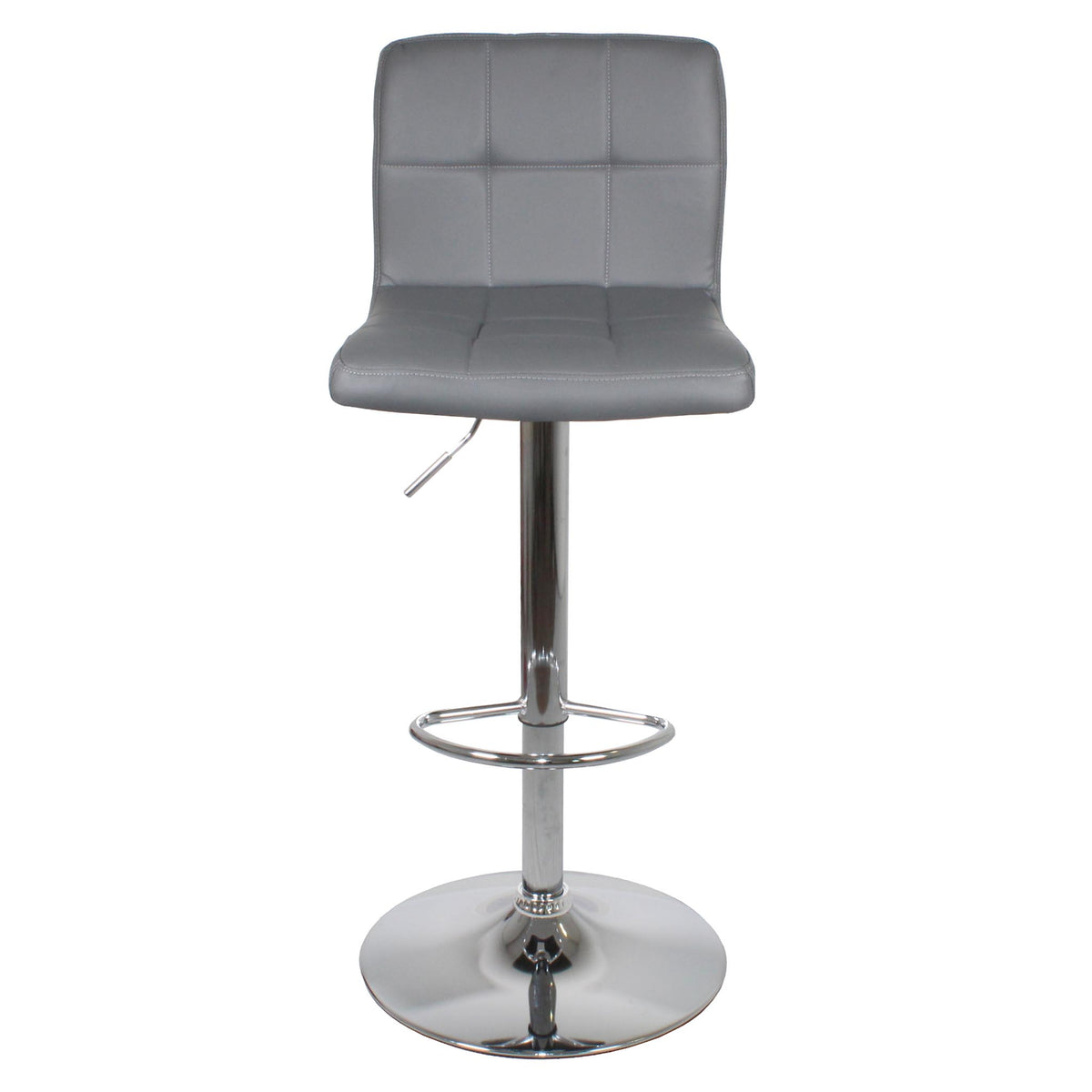 Front view of the Sky Grey Elton Adjustable Breakfast Bar Stool from Roseland Furniture