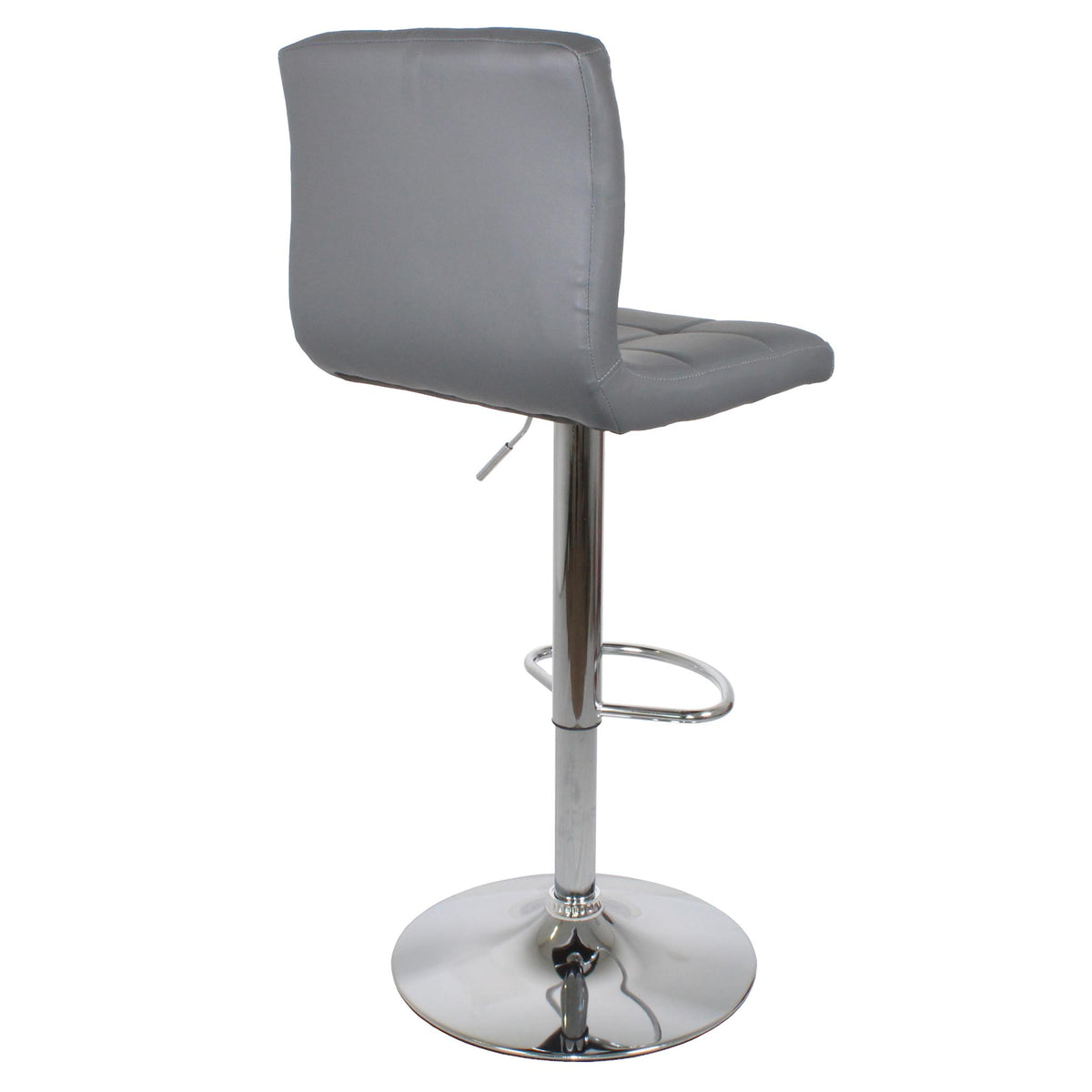 Back view of the Sky Grey Elton Adjustable Breakfast Bar Stool with chrome metal base