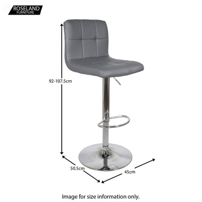 Dimensions for the Sky Grey Elton Adjustable Breakfast Bar Stool from Roseland Furniture