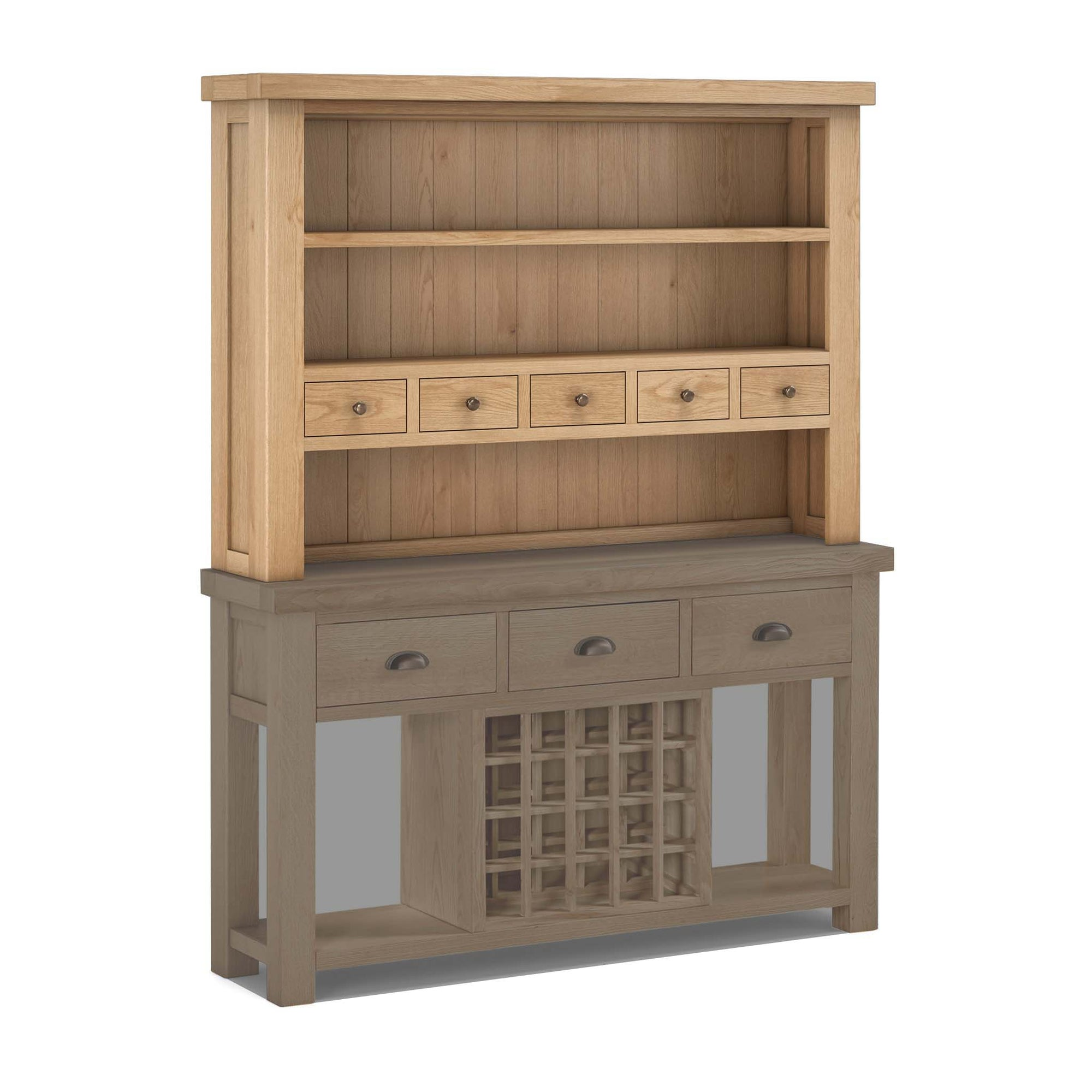 Malvern Oak Open Dresser Hutch