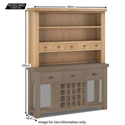 Dimensions - Malvern Oak Open Hutch with Large Console Table beneath