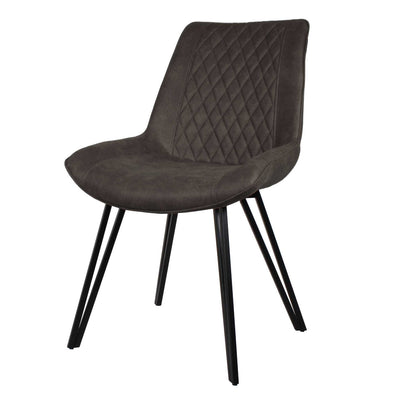 Blythe Dark Grey Suede Dining Chair Pair