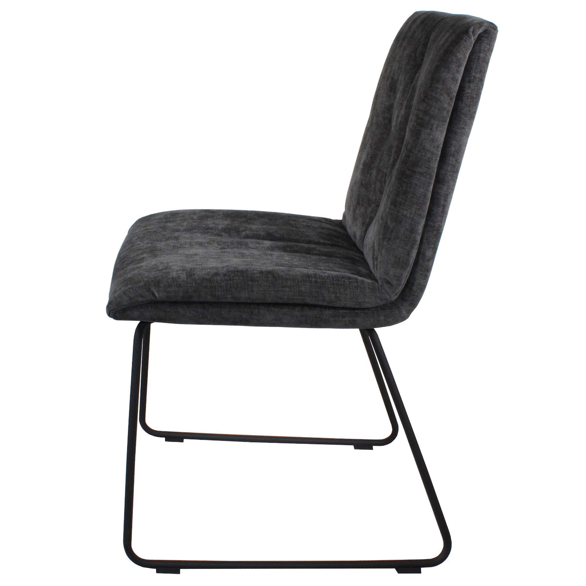 Side view of the Dark Grey Hadley Dining Chair from Roseland Furniture