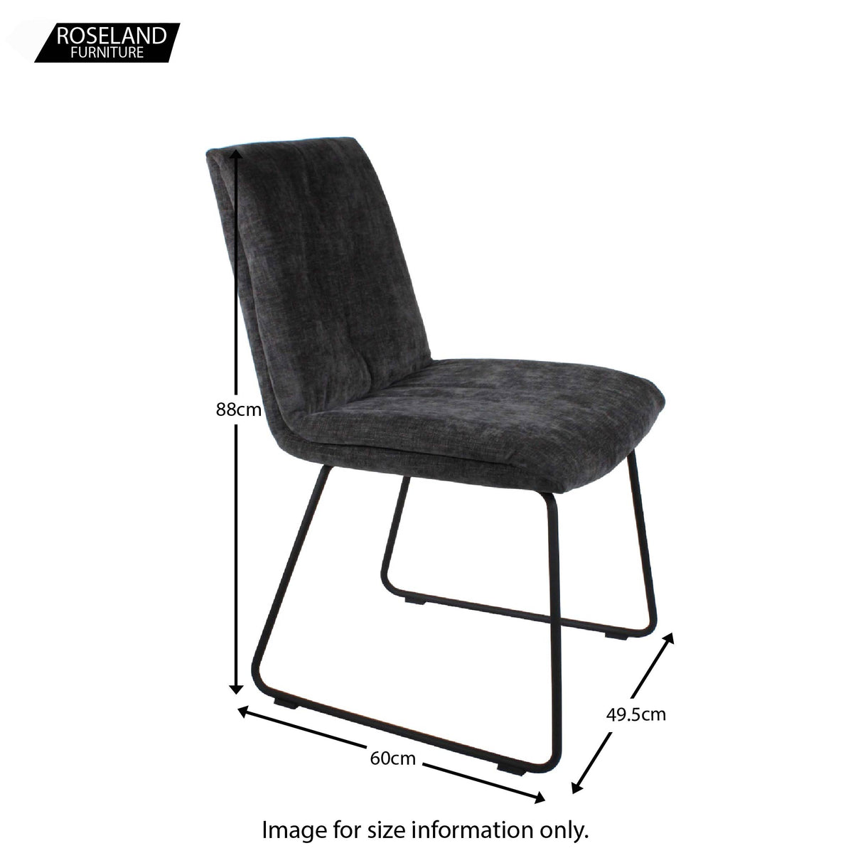 Dimensions for the Dark Grey Hadley Dining Chair from Roseland Furniture