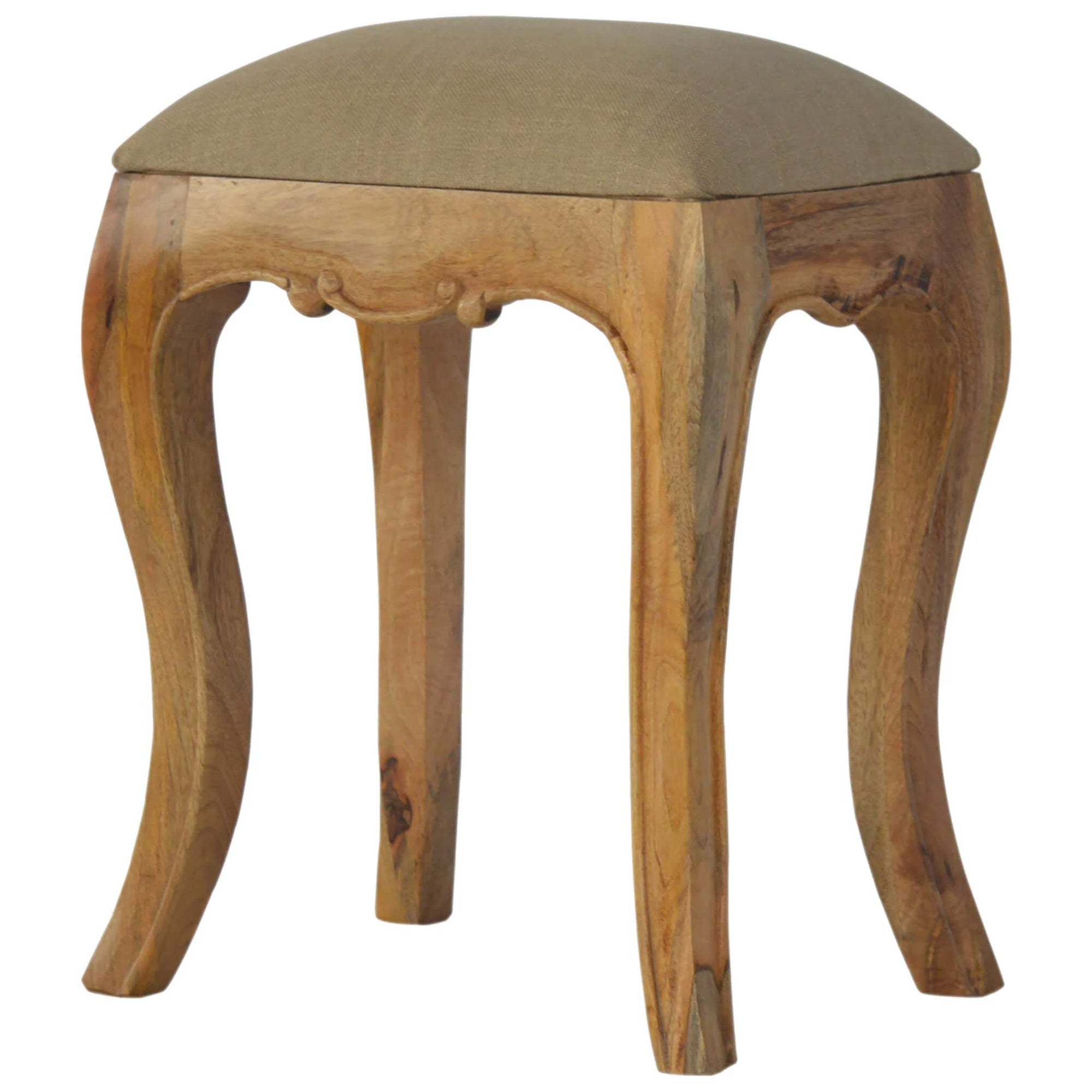 Artisan Chantilly Stool with Beige Linen Seat by Roseland Furniture