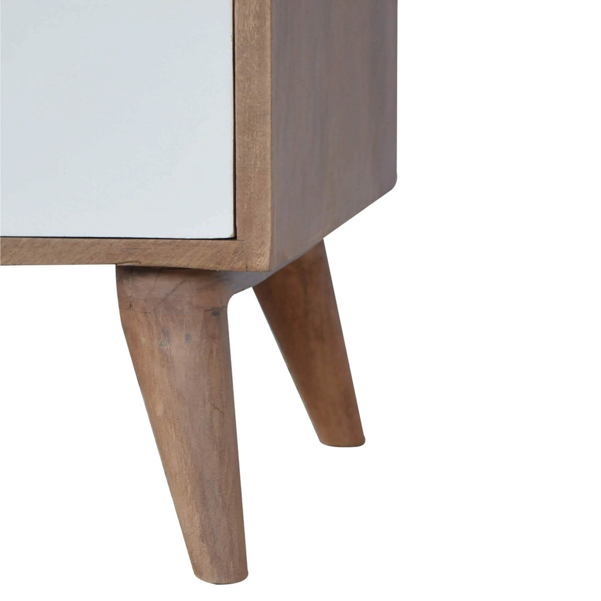Artisan Bedside with 3 Painted Drawers - leg view