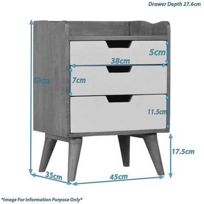 Artisan Bedside with 3 Painted Drawers - size guide
