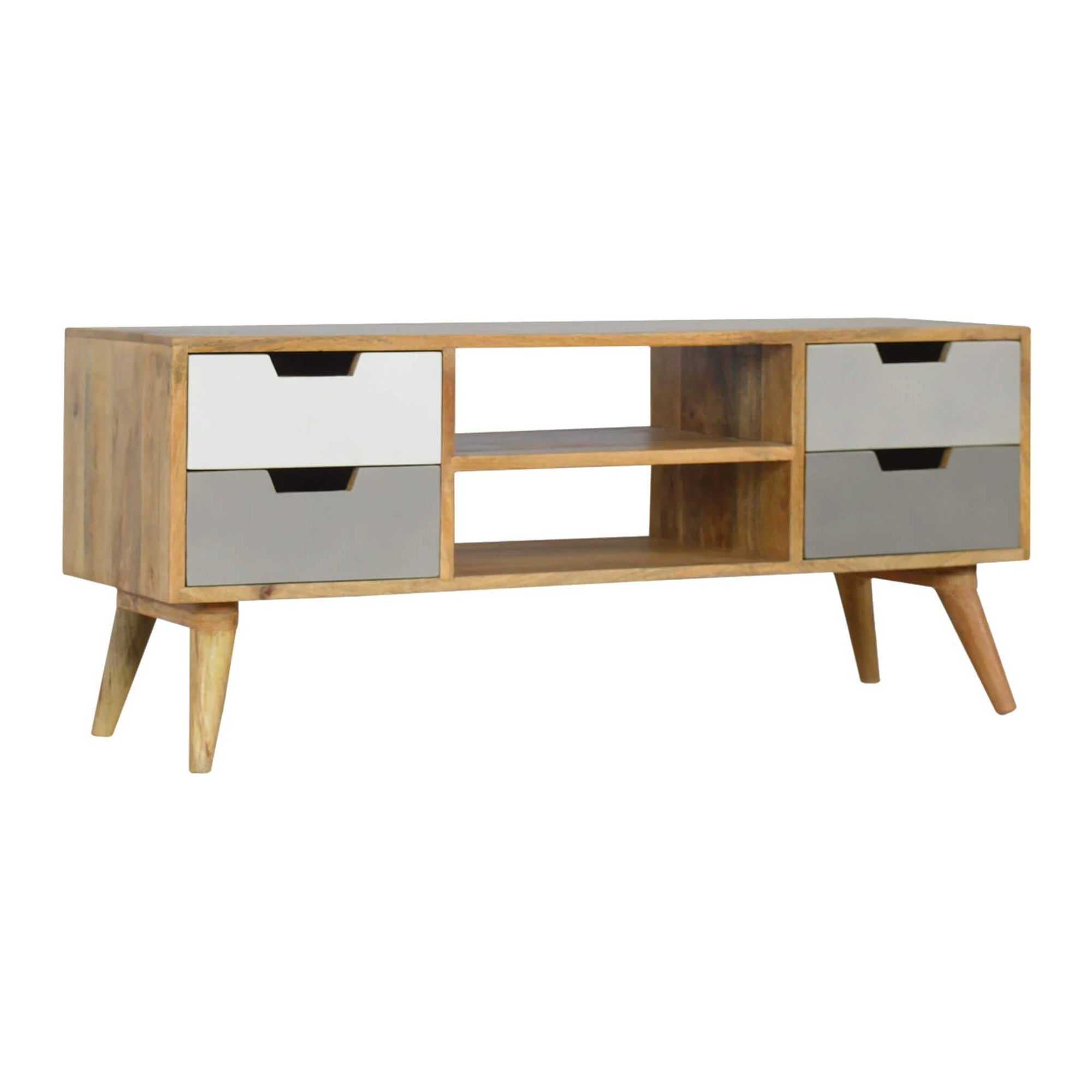 Artisan Large TV Unit with 4 grey Painted Drawers by Roseland Furniture