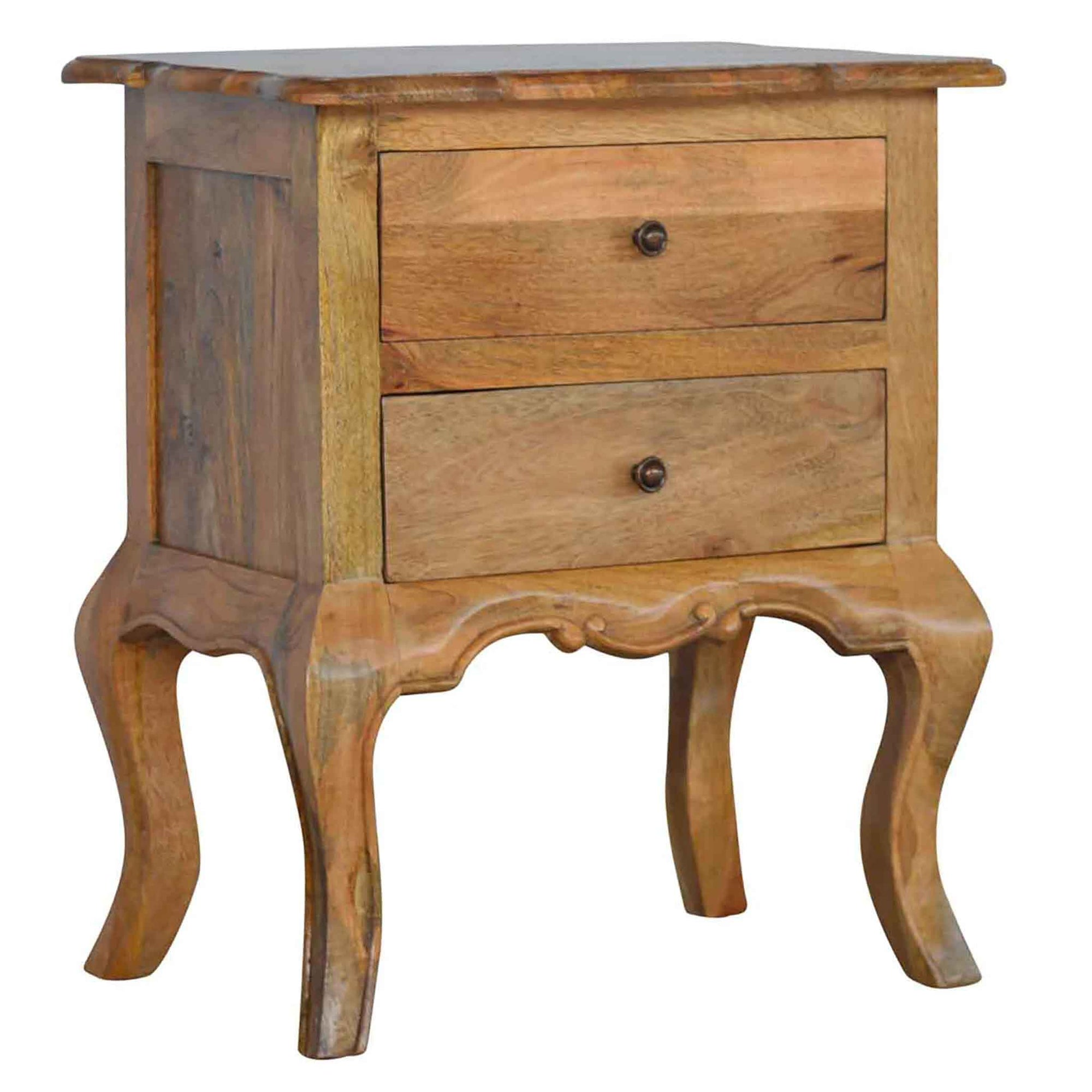 The Artisan French Cabriole 2 Drawer Bedside Table from Roseland Furniture