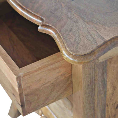 Open drawer view of The Artisan French Cabriole 2 Drawer Bedside Table