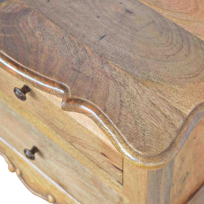 Close up of table surface of The Artisan French Cabriole 2 Drawer Bedside Table