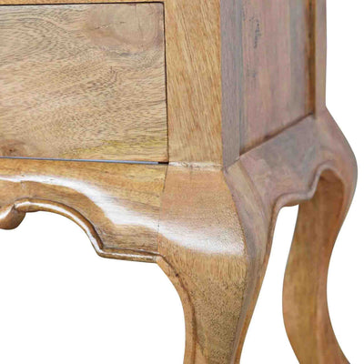Close up of leg joint on The Artisan French Cabriole 2 Drawer Bedside Table