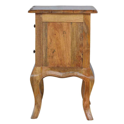 Side panel view of The Artisan French Cabriole 2 Drawer Bedside Table