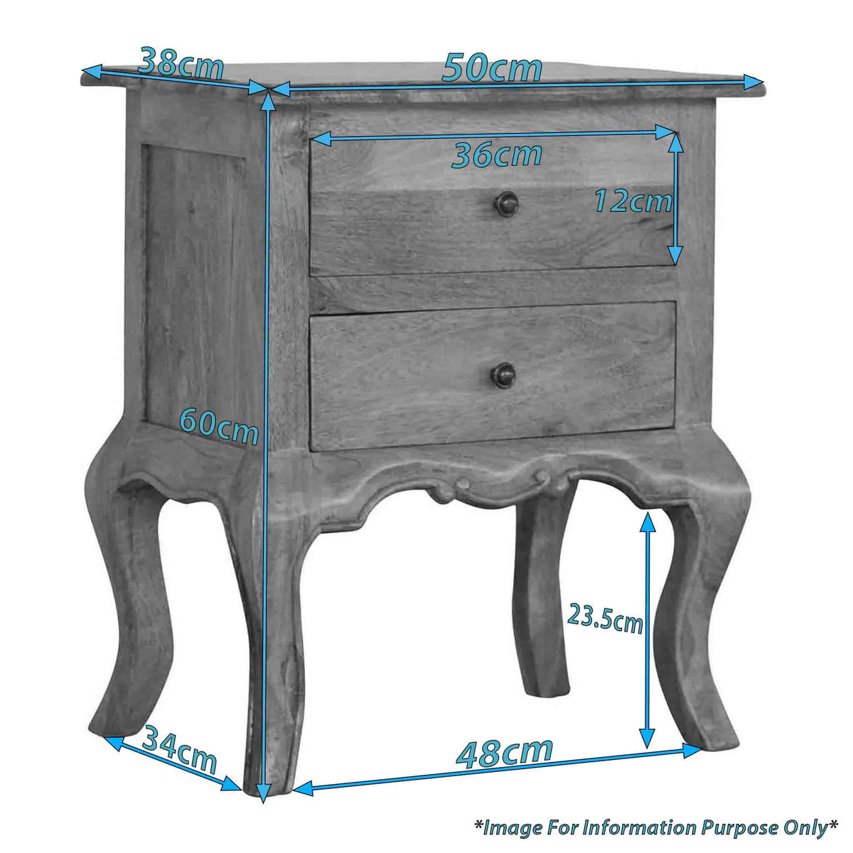 Dimensions for The Artisan French Cabriole 2 Drawer Bedside Table