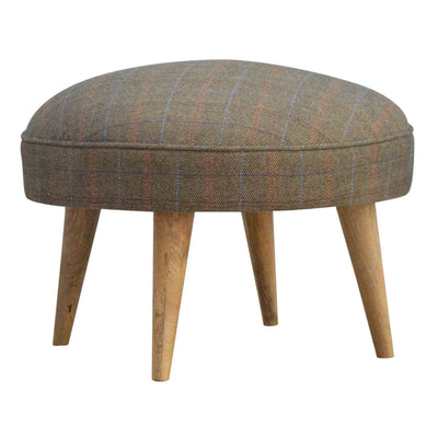 The Multi Tweed Round Footstool from Roseland Furniture