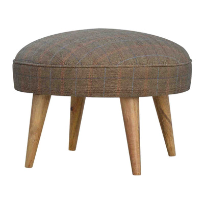 The Multi Tweed Round Foot Stool from Roseland Furniture