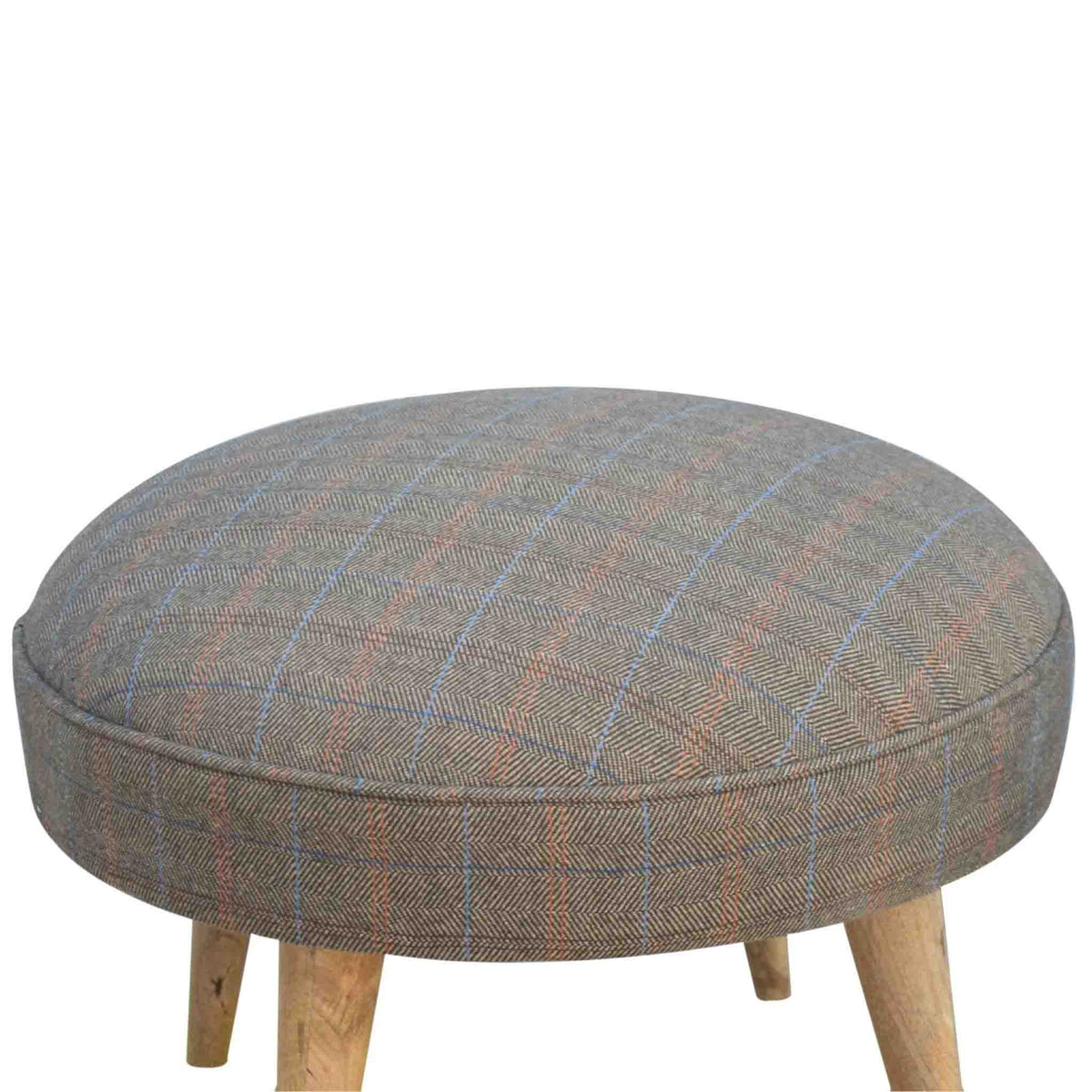Close up of The Multi Tweed Round Foot Stool