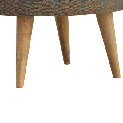 Close up of wooden legs on The Multi Tweed Round Foot Stool
