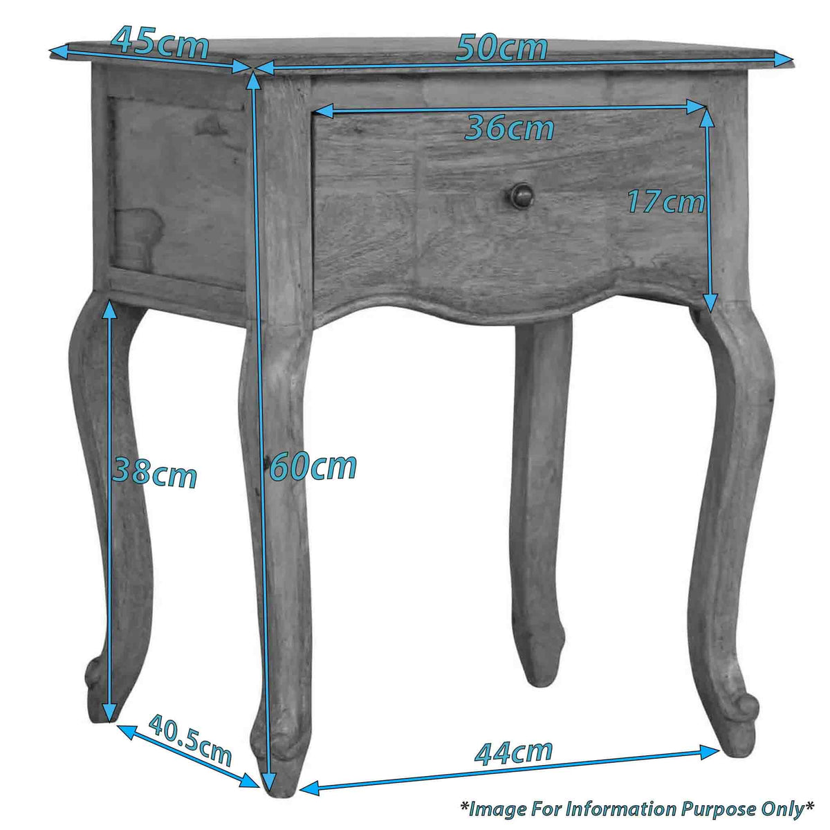 Dimensions for The Artisan French Style 1 Drawer Bedside Table