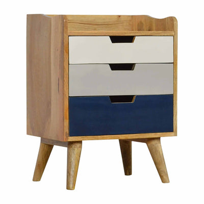 The Scandinavian Navy Painted Mango Wood Bedside Table with 3 Drawers from Roseland Furniture
