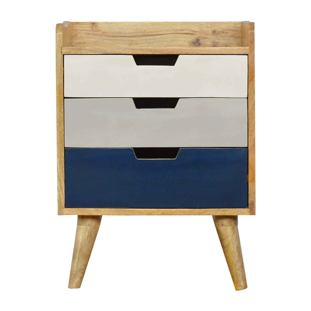 The Scandinavian Navy Painted Mango Wood Bedside Table with Storage