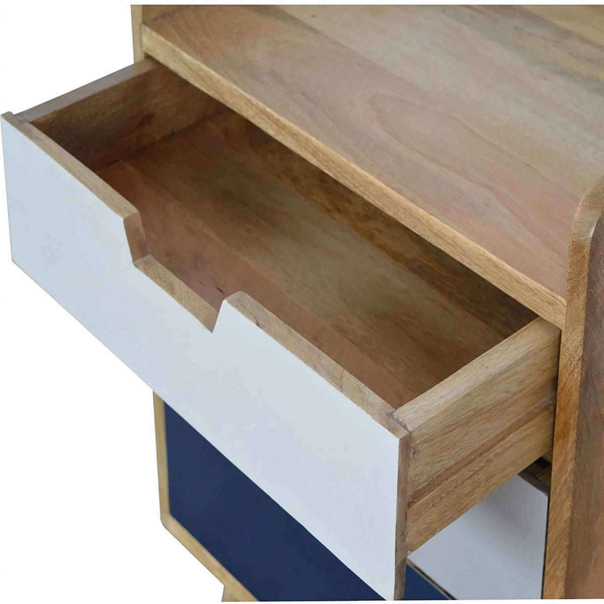 Opened drawer view of The Scandinavian Navy Painted Mango Wood Bedside Table with 3 Drawers