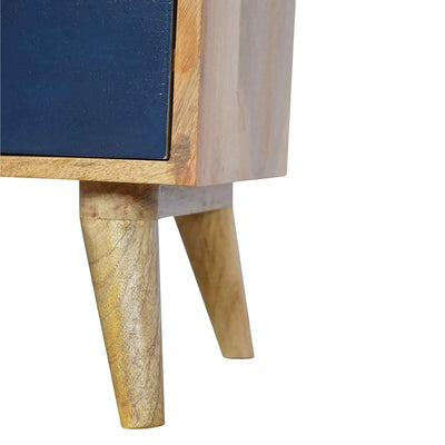 Close up of short legs on The Scandinavian Navy Painted Mango Wood Bedside Table