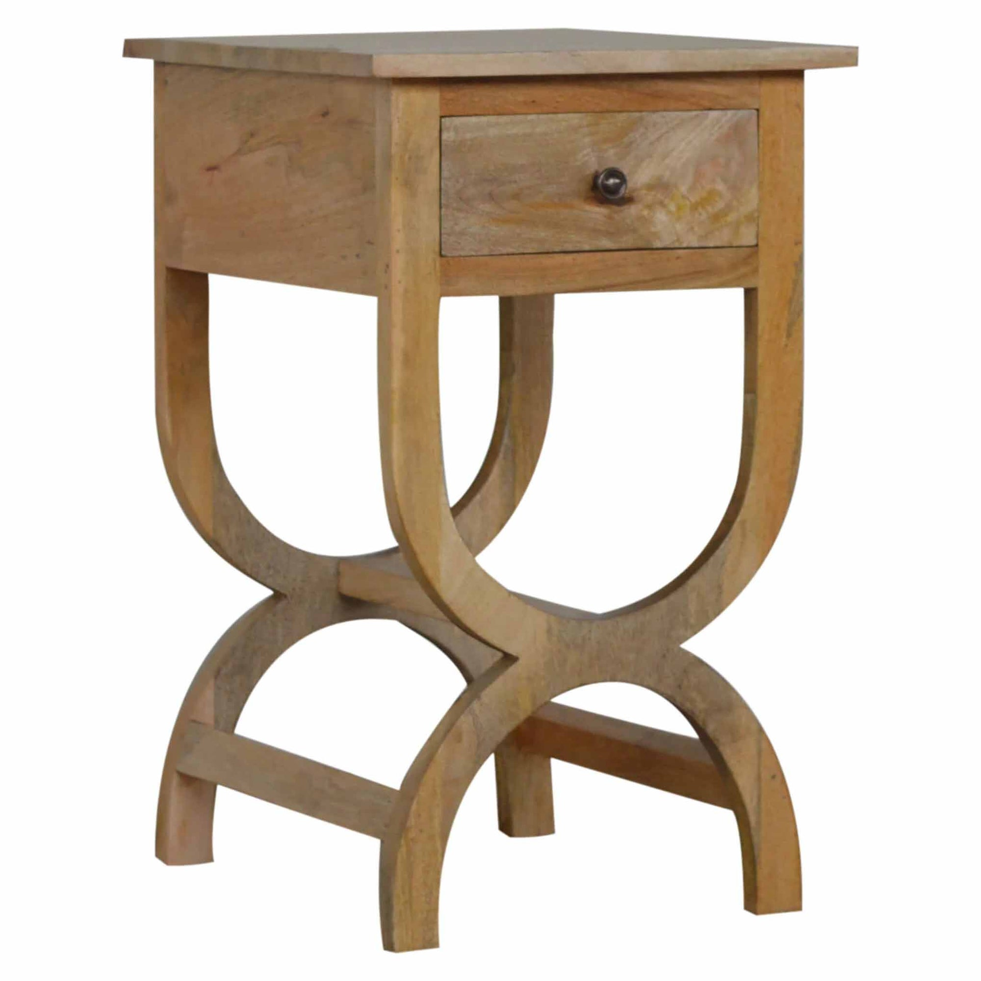 The Artisan Mango Wood 1 Drawer Bedside Table with Serpentine Feet from Roseland Furniture