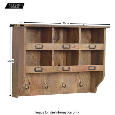 Artisan Wooden Wall Mounted Storage Unit - Size Guide