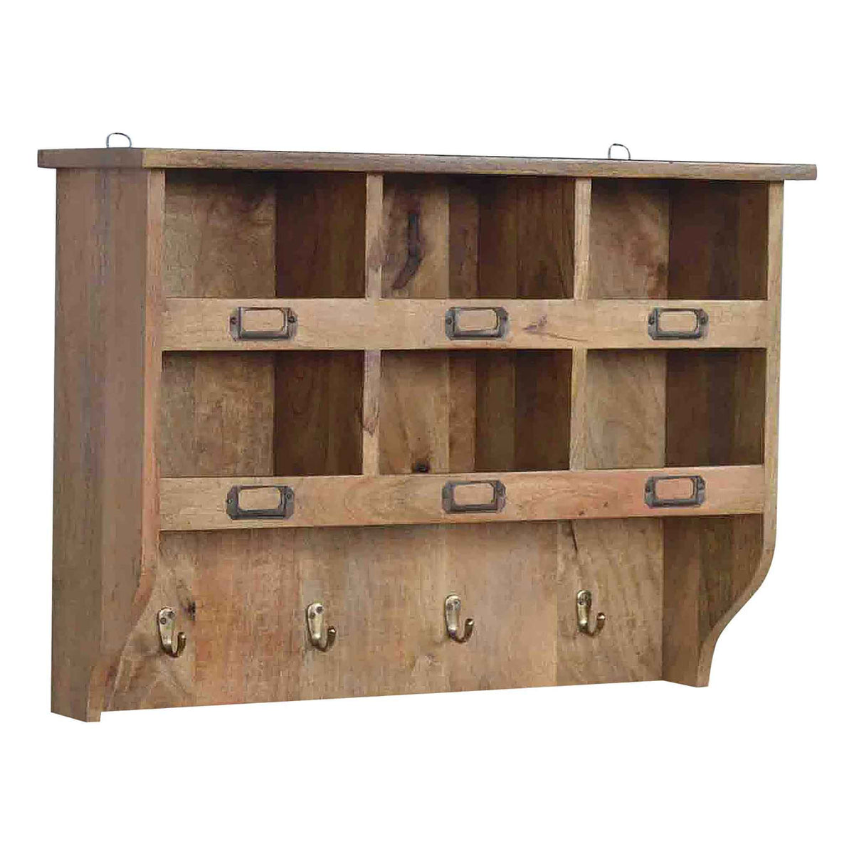 The Artisan Wooden Wall Mounted Storage Unit with Hooks from Roseland Furniutre