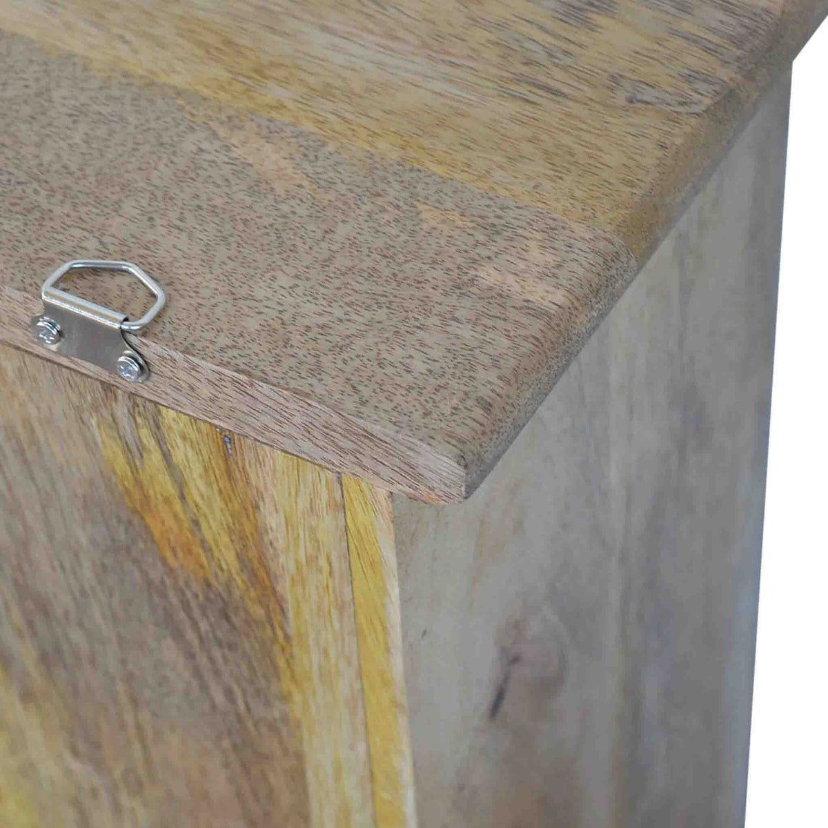 Close up of top surface and wall mount on The Artisan Wooden Wall Mounted Storage Unit