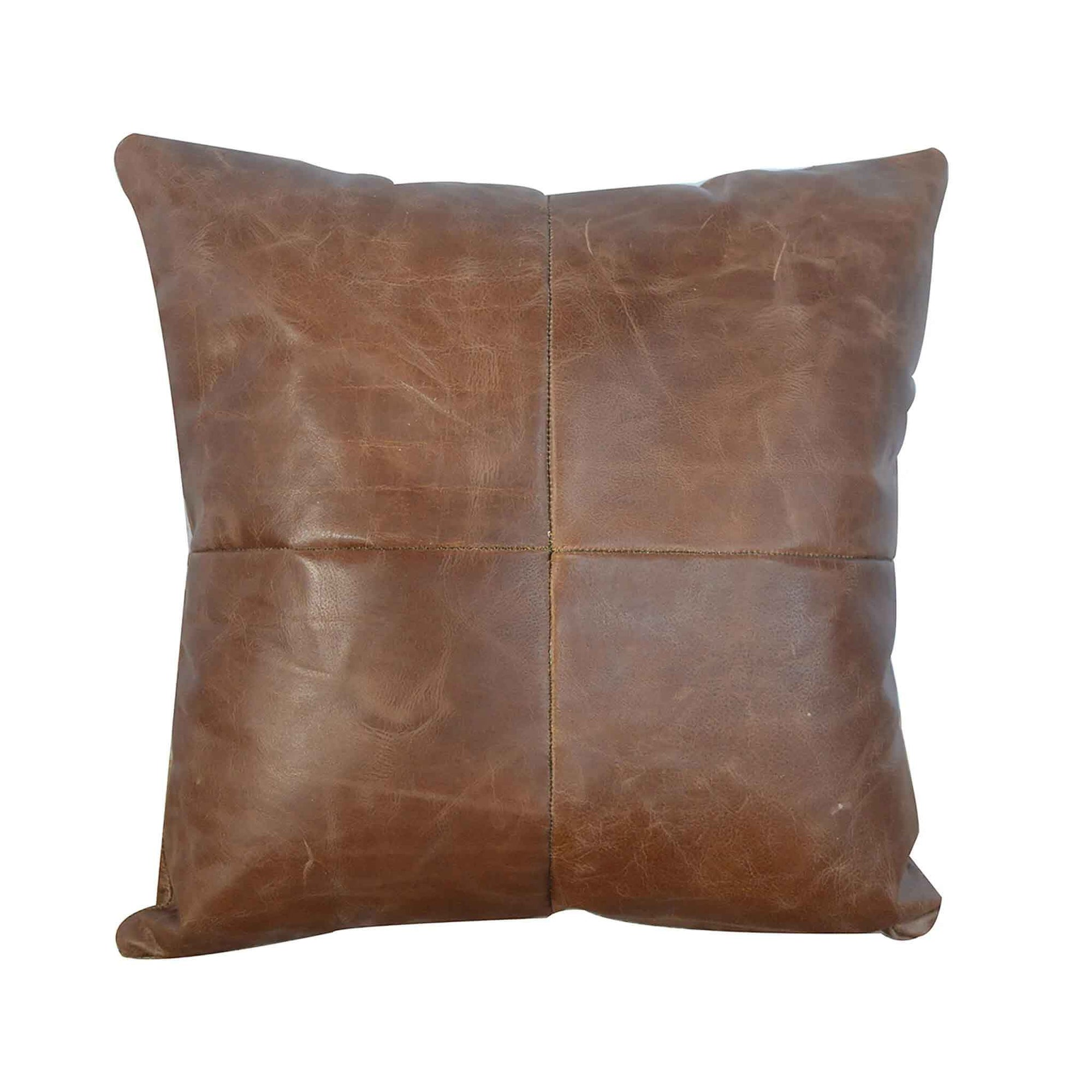 The Artisan Brown Buffalo Hide Leather Cushion from Roseland Furniture