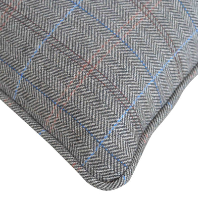 Close up of chequered pattern on The Artisan Grey Multi Tweed Cushion