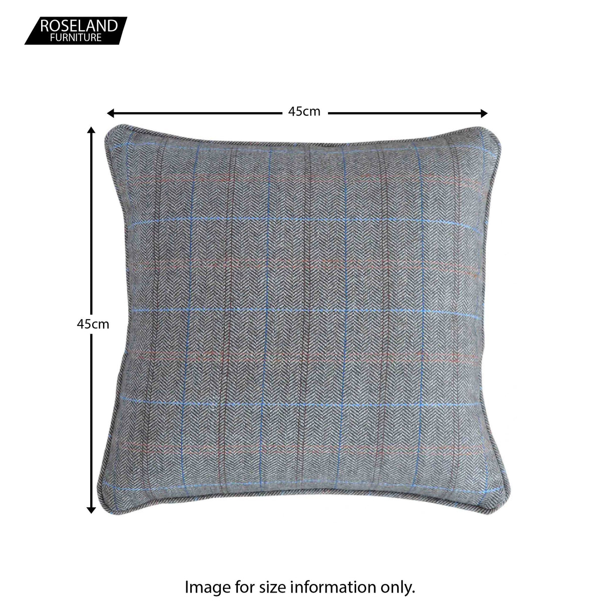Artisan Grey Multi Tweed Cushion - Size Guide